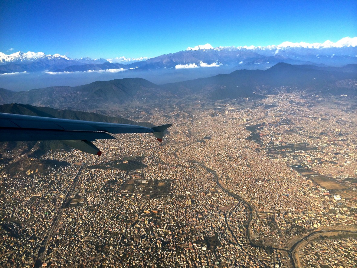view from plane of Katmandu Valley