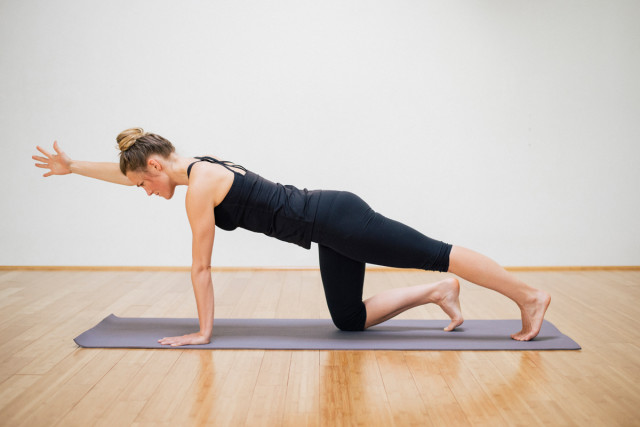Kate in modified plank pose